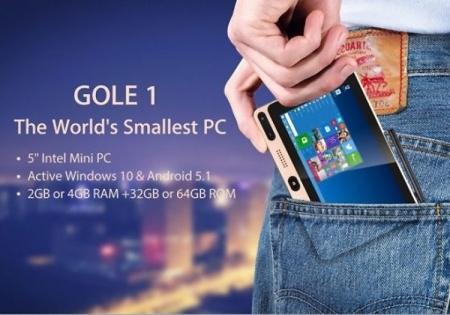 GOLE1: 100-долларовый ПК в формате смартфона на Windows 10 и Android
