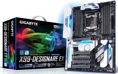 Плата Gigabyte GA-X99-Designare EX для мощных ПК снабжена подсветкой