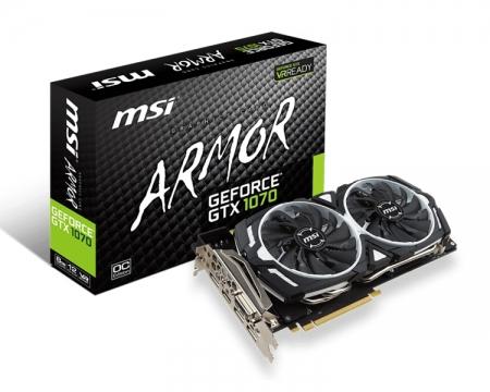 Видеокарта MSI GeForce GTX 1070 Armor 8G OC имеет заводской разгон