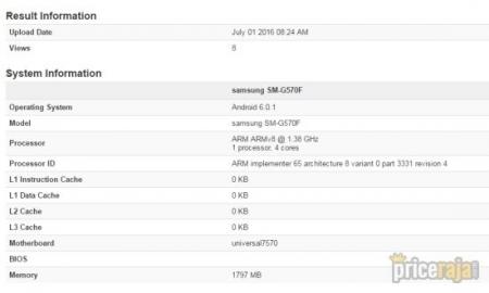 Samsung Galaxy On5 2016 c 2 Гбайт ОЗУ и Exynos 7570 замечены в тестах