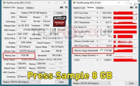 Первые партии Radeon RX 480 4GB несут на борту 8 Гбайт видеопамяти