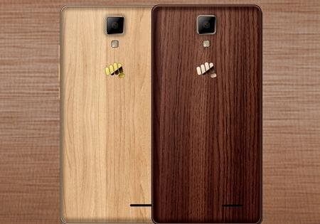 Корпус смартфона Micromax Canvas 5 Lite отделан деревом