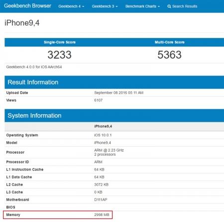 В iPhone 7 Plus обнаружилось 3 Гбайт оперативной памяти