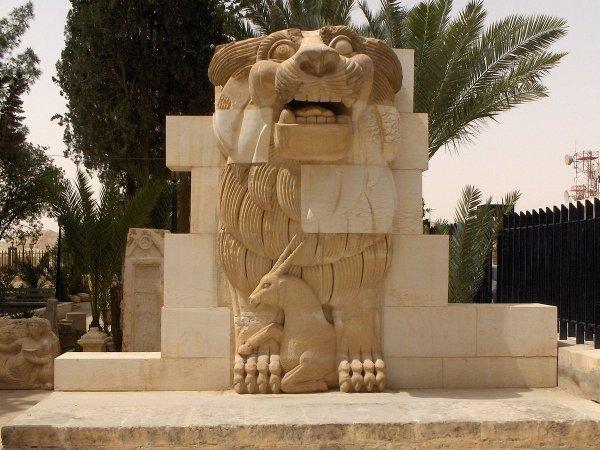 Российские археологи помогли восстановить памятник льву богини Аллат
